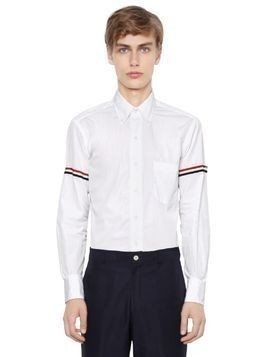 COTTON POPLIN SHIRT W/ STRIPED ARM BANDS