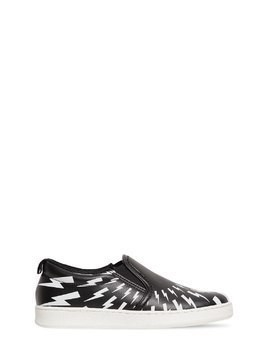BOLTS PRINT LEATHER SLIP-ON SNEAKERS