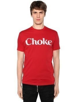 CHOKE PRINTED COTTON JERSEY T-SHIRT