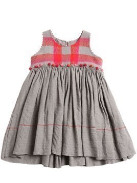 POMPOM WOOL CHECK & FLANNEL DRESS