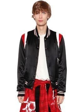 VARSITY LEATHER&SILK BOMBER JACKET