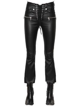 LACED CROPPED STRETCH LEATHER PANTS