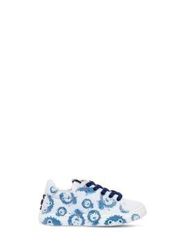 LION PRINTED LEATHER SNEAKERS