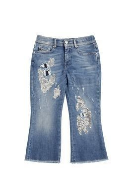 SEQUINED STRETCH DENIM CROPPED JEANS