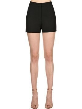HIGH WAIST WOOL & SILK CREPE SHORTS