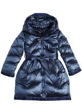 NYLON DOWN COAT W/ VELVET DETAILS