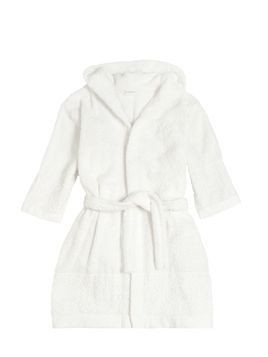 COTTON TERRYCLOTH & LACE BATHROBE