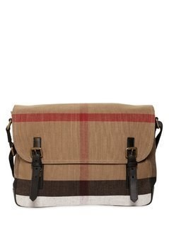 CHECK COTTON CANVAS MESSENGER BAG