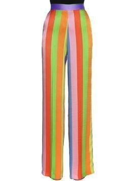 STRIPED SILK TWILL WIDE LEG PANTS
