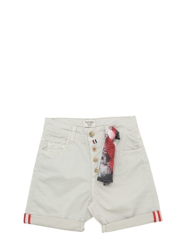 STRETCH GABARDINE SHORTS W/ BANDANA