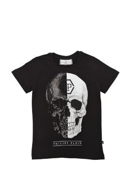 SKULL PRINTED COTTON JERSEY T-SHIRT