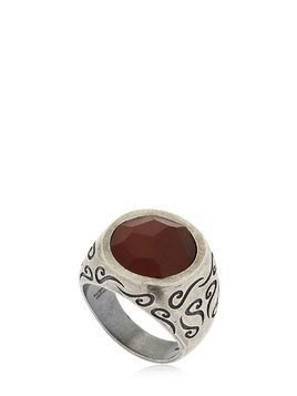 ARA ENGRAVED SILVER RING W/ TIGER'S EYE