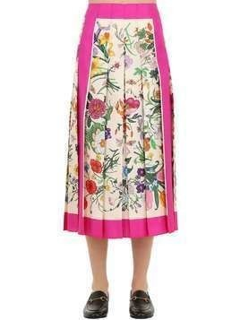PLEATED FLORAL PRINT SILK TWILL SKIRT