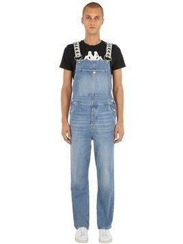 COTTON DENIM OVERALLS W/ LOGO STRAPS