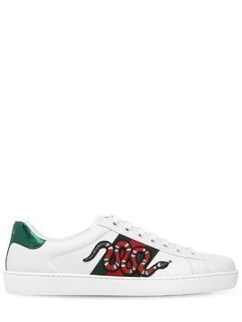 NEW ACE SNAKE PATCH LEATHER SNEAKERS