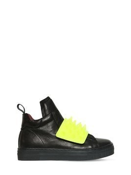 SPIKES NAPPA LEATHER HIGH TOP SNEAKERS