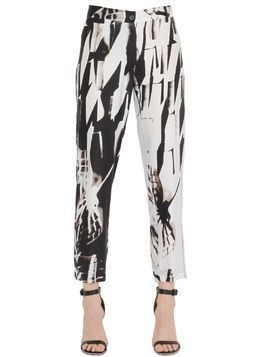 PRINTED VISCOSE&SILK BLEND CADY PANTS