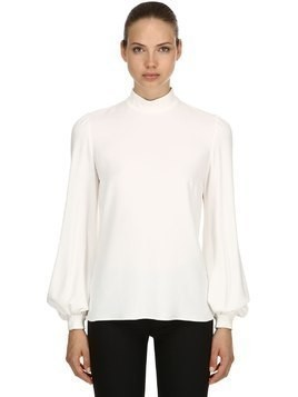 CREPE BLOUSE W/ PUFF SLEEVES