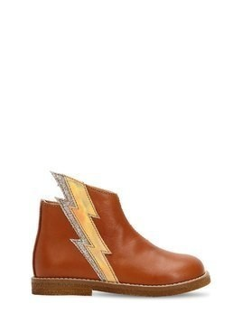 LIGHTNING BOLT LEATHER ANKLE BOOTS