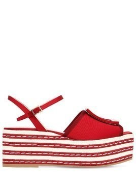70MM STRIPED VISCOSE PLATFORM SANDALS