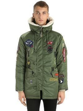 N3-B HOODED NYLON PARKA W/ PATCHES