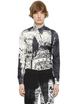 LONDON MAP PRINT COTTON SILK TWILL SHIRT