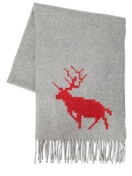 DEER EMBROIDERED WOOL&CASHMERE SCARF