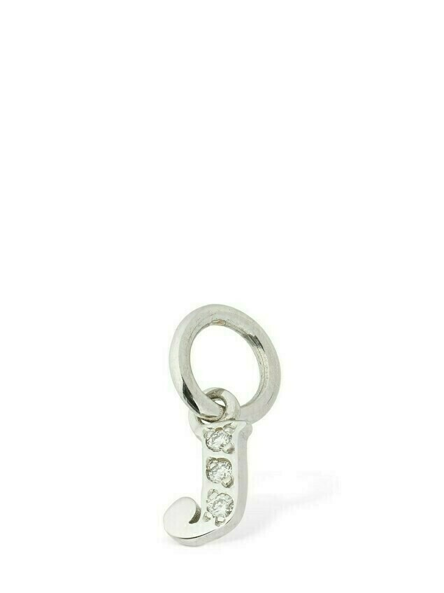 "18kt White Gold ""j"" Charm W/ Diamond"