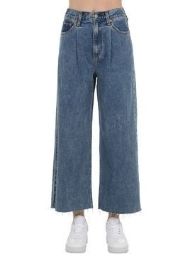 CROPPED HIGHRISE WIDE LEG JEANS W/PLEATS