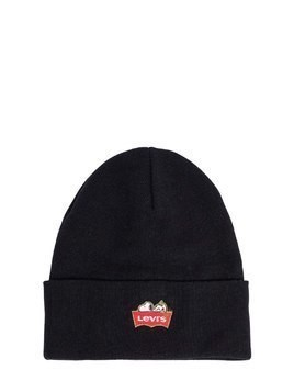 SNOOPY EMBROIDERED KNIT BEANIE HAT
