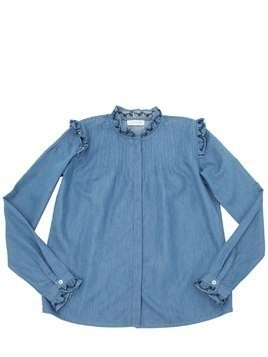 RUFFLED CHAMBRAY SHIRT
