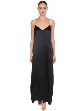 SILK SATIN LONG DRESS W/ CRYSTAL STRAPS