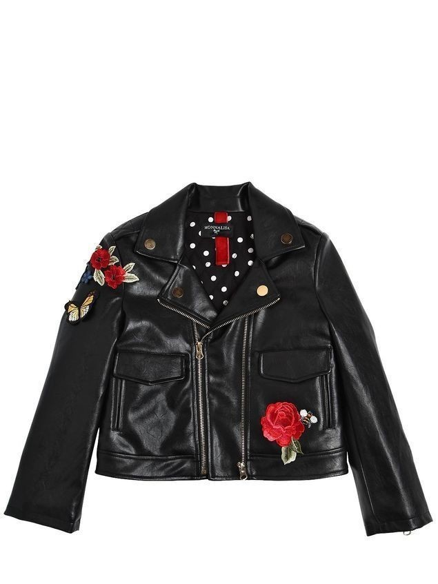 EMBROIDERED QUILTED FAUX LEATHER JACKET