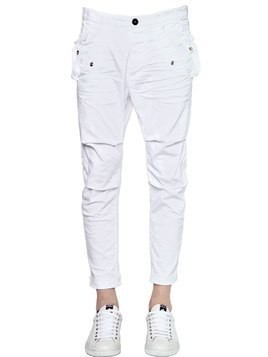 STRETCH COTTON TWILL CARGO CHINO PANTS