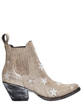 65MM STARS METALLIC SUEDE ANKLE BOOTS