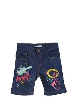 MUSIC PATCHES COTTON DENIM SHORTS