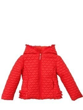 HEARTS QUILTED NYLON PUFFER JACKET