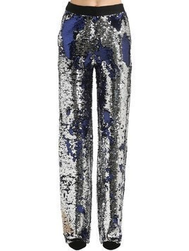 SEQUINED WIDE LEG PANTS