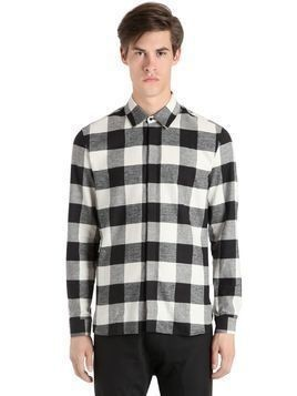 PRINTED LIVE & LET LIVE PLAID SHIRT
