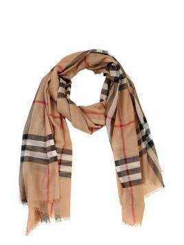LOGO CHECKED WOOL SCARF