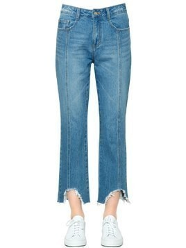 BOYFRIEND DESTROYED HEM DENIM JEANS