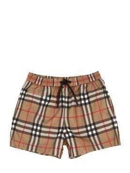 CHECKED NYLON SWIM SHORTS