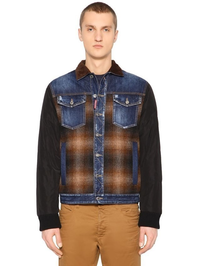 PATCHWORK DENIM & FLANNEL DOWN JACKET