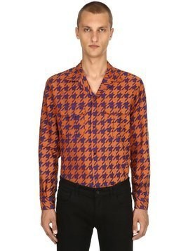 HOUNDSTOOTH COTTON JACQUARD PAJAMA SHIRT