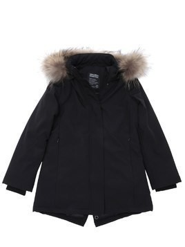 HOODED NYLON PUFFER PARKA W/ FUR TRIM