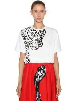 OVERSIZED LEOPARD PRINTED JERSEY T-SHIRT