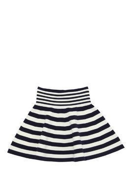 STRIPED VISCOSE BLEND KNIT OTTOMAN SKIRT