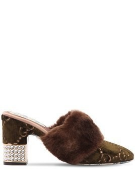 75MM CANDY GG VELVET&FAUX FUR MULES