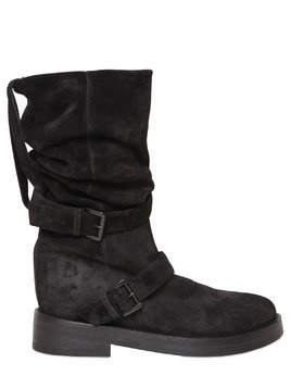 30MM DOUBLE BUCKLE SUEDE PULL ON BOOTS
