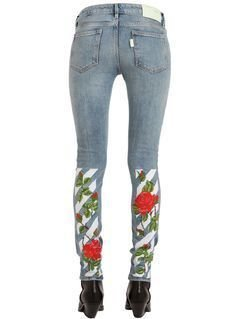 SKINNY ROSES EMBROIDERED DENIM JEANS